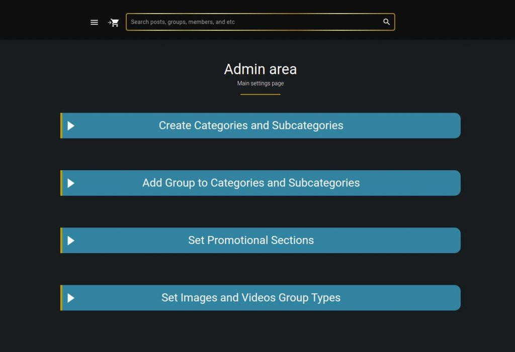 admin page design menu